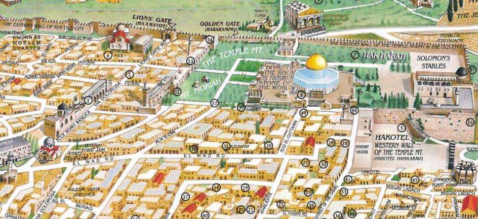 Erasing the AlAqsa Mosque from Tourist Maps – Jerusalem Tourist Map