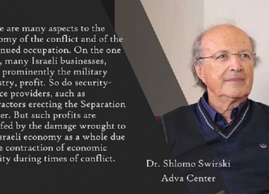 Shlomo Swirski, Israel is Paying Heavily for the Occupation